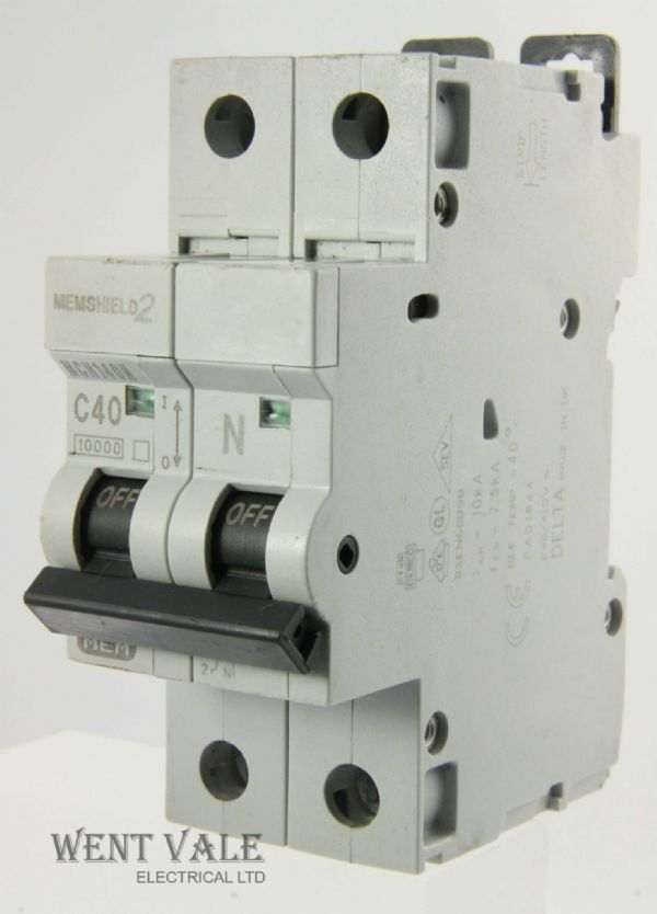 MEM Memshield 2 - MCH140N - 40a Type C Single Pole Switched Neutral MCB Used